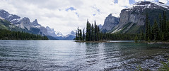 Spirit Island, Maligne Lake, Panorama. (womboyne7) Tags: canada rocky mountains lake glacier trees water island lakemaligne jasper alberta snow travel