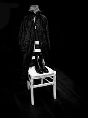 The Emperor Has No Soul (Professor Bop) Tags: professorbop drjazz appleiphonese blackandwhite bw monochrome clothing hat coat boots chair