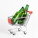 Beer bottles in shopping cart