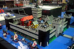Black Falcons Castle (Ced72) Tags: blackfalcons black falcons lego old castle layout town battle army lion knights fortress bricklive brussel