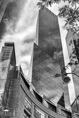 Reflecting Clouds (allentimothy1947) Tags: blackandwhite manhattan newyork archtecture bw building clouds glass highrise midtown newyorkcity reflection sky skycraper storm timewarnercenteratcolumbuscircle tower tree
