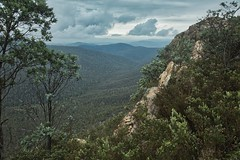 Rain coming (Geoff Main) Tags: landscape rain clouds valley rocks trees
