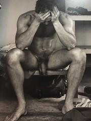 Nude portrait (jacksonmurray) Tags: model man male blackwhite foreskin penis sexy portrait naked nude