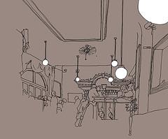 Binokel, Mannheim, January 2019 (stevefaradaysketches) Tags: binokel cafe mannheim interior urbansketch urbansketchers usk inkdrawing illustration fineliner penandinksketch