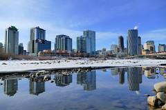 Calm Mid Winter Morning Reflection - Calgary, Alberta (@mjmantis Montreal Urban Photos) Tags: canada cityscape calgary explorecanada urban reflection alberta urbanphotography cityview yyc cityskyline city waterfront water river
