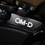 Close-up of OM-D lettering engraved on an Olympus camera thumbnail