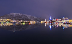 Tromso lights (Rob McC) Tags: noghy light reflections water watefront harbour tromso norway mountains snow landscape
