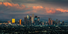 City of Angels Stormy Sunset (Kurt Lawson) Tags: baldy city cityofangels cucumonga downtown losangeles metropolis morning mount mountain peak pinemountain sanantonio sanbernardino skyline snow snowcap sunset telegraph usbank wilshiregrand
