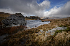Hold onto your hat ! (Einir Wyn Leigh) Tags: landscape weather winter scenery mountains water wales rugged rural clouds outside nikon sky grass