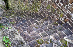 Stairs And Wall At Old Stone Bridge (gmsphoto) Tags: oldstonebridge atlantichighlands newjersey mosaic colorful steps geometric architecture beauty strength structure photograph craftsmanship curiosity excellence wallart integrity abstract repetition stilllife vintage