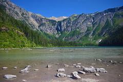 Avalanche lake (kirsten.eide) Tags: summer landscape rocks glaciernationalpark montana lake water waterfalls glacier nationalparkservice nikon nikond3300