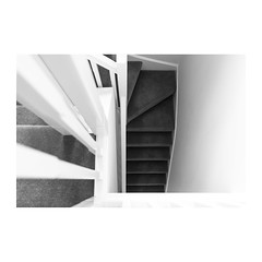 Staircase (John Pettigrew) Tags: lines tamron d750 nikon abstract banister space perspective mundane stairs imanoot angles black bnw steps bw banal johnpettigrew white