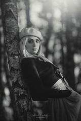 fall (sylwiana) Tags: bnw bnwphoto bnwphotography bnwcreatives bnwmood forest tree woman womanphoto