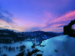 Winter sunset (Day&Fir) Tags: winter sunset snow blue light sky clouds trees house montenegro nikšić crnagora cold landscape nature peaceful winterscape hill sundown evening sunlight
