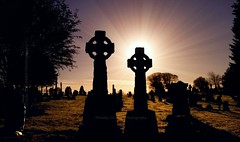 Morning Glory (Michelle O'Connell Photography) Tags: glasgow sunrise morning celticcross glasgowcemetery cemeterymonuments cemetery cemetry graveyard headstone tombstones burialsite burialground concecratedground lambhillcemetery lambhillglasgow maryhillglasgow maryhill cadder silhouettephotography silhouette sunrisesunsets sunbeam glasgowphotographer slylovers skyporn graves grave michelleoconnellphotography