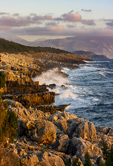 Kefalonia, Greece (Phil Spalding) Tags: sunset greece kefalonia sunrise warm glow glowing crashing crashingwaves waves beach shore shoreline saturated choppy blue bluesea ocean rocks rocky