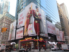 Shazam The Big Red Cheese Billboard 42nd St NYC 3730 (Brechtbug) Tags: shazam billboard 42nd street new captain marvel the big red cheese poster ad nyc 2019 times square movie billboards york city work working worker paint painting advertisement dc comic comics hero superhero alien dark knight bat adventure national periodicals publication book character near broadway shield s insignia blue forty second st fortysecond 03142019 lightning flight flying march