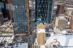 At the Top of the Calgary Tower (Susan.Johnston) Tags: calgarytower downtowncalgary viewfromtopofcalgarytower hyatt telussky thebow centrestreet lrt ctrain deltahotelsmarriott centrestreetbridge bowriver plus15 chinatown familyofmanpark harryhayesbuilding calgary alberta