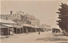 White Horse Road, Box Hill, Vic - very early 1900s (Aussie~mobs) Tags: whitehorseroad boxhill vintage victoria australia shops streetscape stores businesses moranandcato sulky taxi shopping carriage