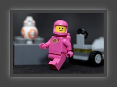 Lady Astronaut in her new designer Space Suit (N.the.Kudzu) Tags: tabletop toys lego minifigures lady astronaut canondslr meike 85mmf28 macro lens photoscape frame home canon430ex flash