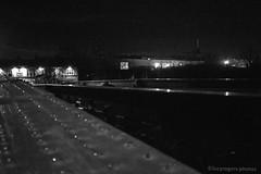 Night life (lucyrogersphotography) Tags: monochrome blackandwhite bridge pub lights knottingley uk street streetphotography yorkshire roads junction intersection doubleyellows