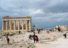 An on-going work of art.  Athens. (Country Girl 76) Tags: athens parthenon building people workmen sky history acropolis view scene greece