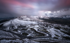 Winter on Mam Tor (Zoltan Schadel photography) Tags: locations road ser peakdistrict serpentineroad people cold sunset landscapes winter zoltanschadel mamtor