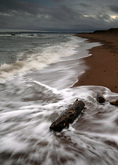 A cold day at the beach (PeskyMesky) Tags: aberdeen aberdeenshire blackdog beach scotland longexposure water sea wave ocean sand canon canon5d eos