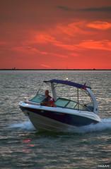 Blue Seas Red Skies Tampa Bay Boating Paradise - IMRAN™ (ImranAnwar) Tags: horizon redsky bluewater adventure seaside tampabay sea lifestyleoutdoors boating contrast imran boat imrananwar apollobeach florida clouds unitedstatesofamerica us