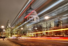 St Pauls Traffic Trails (Raphooey) Tags: gb uk england south east southeast london capital city river thames wave waves water millenium bridge suspensionbuilding buildings st pauls cathedral office offices night evening cloud clouds cloudy canon eos 6d mark mk ii 2 traffic trail trails hdr bus buses
