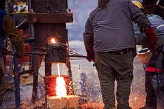 Catch the spill (jkotrub) Tags: iron steel diy make maker pour glow rust metal heat furnace ice snow winter warm molten burn fire