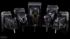 Eastman Kodak Co. Vintage Camera Collection (SonjaPetersonPh♡tography) Tags: kodak eastmankodakco camera bellows photography collection blackwhite macro nikon nikond5300 newyork georgeeastman foldingcamera retired macrophotography blackandwhite cameracollection nikon400mmf28
