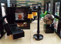 Shallow-Water House MOC. Sofa, lamp and fire place. (betweenbrickwalls) Tags: lego furniture furnituredesign legofurniture legofurnishings interiors interiordesign design house home