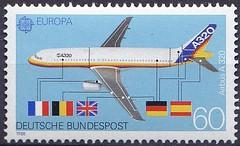 Deutsche Briefmarken (micky the pixel) Tags: briefmarke stamp ephemera deutschland bundespost europamarke flugzeug airplane verkehrsflugzeug airbusa320