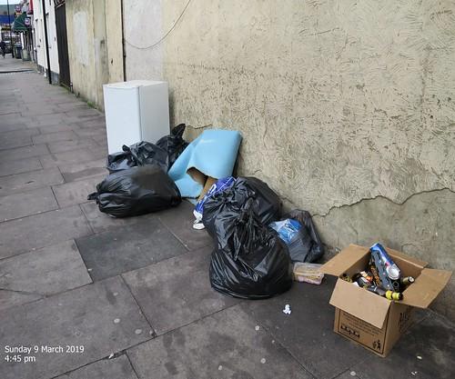 Moorefield Road N17. Regular rubbish dumping spot.