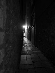 way to go (chrisinplymouth) Tags: monochrome alley perspective streetlamp night barbican plymouth devon uk city cw69x diagx desx