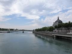 Rhône River and Hôtel-Dieu from Pont Wilson, Lyon, France (Paul McClure DC) Tags: lyon france july2017 auvergnerhônealpes rhône river scenery architecture historic
