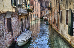 Canal (Jan Kranendonk) Tags: venice venetian italy italian europe european buildings city town architecture travel water canal alley narrow small little houses home boats colorful palazzo mansion historical bridge quiet balcony back behind windows walls hdr