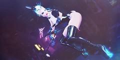 Aglaya (Valenska Voljeti) Tags: secondlife sl ay cyberpunk cyber robotics prosthetic latex bunny neon