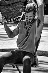 Zachary. (Ian Ramsay Photographics) Tags: zacharyluka manly newsouthwalesaustralia talent streetmusician busker trade songwriter promotes guitar music microphone soundgear monochrome canoneos200d camera