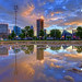 Baltimore skyline puddle reflection sunrise (paint filter)