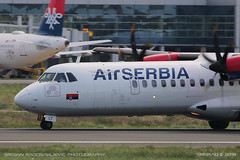 ATR-72-500 (srkirad) Tags: aircraft airplane airliner propeller prop atr aerospatiale airbus atr72 airserbia takeoff blades closeup planespotting aerodrom airport tesla belgrade beograd serbia srbija pilot runway