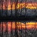 Il Monviso e il Po in un tramonto infuocato
