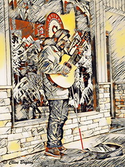 Jason at the Pie Co., Alexander St., Salmon Arm, BC (clive_bryson) Tags: jason alexanderstreet salmonarm britishcolumbia canada busker guitar clivebryson lunapic artsifartsi