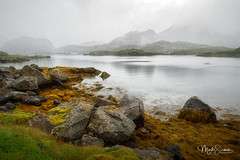 Misti Lofoten (marko.erman) Tags: lofoten norway betweenreineandfredvang e10 nordland landscap landscape mist misty fog foggy mood moody sea fjord water reflections quiet serene serenity beautiful morning sony rocks mountains moss lichen