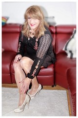 Top with lace, black skirt, shiny tights ... (Josephine Kristin Nyl) Tags: crossdresser strumpfhosen pantyhose stockings hosiery tights nylon nyl