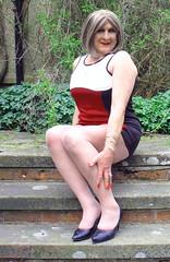 maxbdyconsteps-003 (fionaxxcd) Tags: crossdresser crossdressing tranny trannie transvestite m2f mtf gurlboy pantyhosetights legs bust blonderednails bodycondress minidress