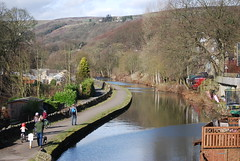 Rochdale Canal at Luddenden Foot (Halliwell_Michael ## Offline mostlyl ##) Tags: calderdale rochdalecanal westyorkshire nikond40x 2019 luddendenfoot reflection reflections trees landscapes hills water towpath reflectionslovers
