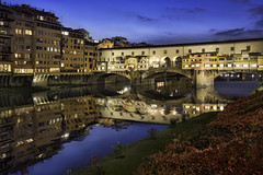 Evening Along the Arno (Lee Sie) Tags: firenze florence italy water reflection arno river night lights city