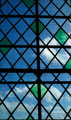 Stained Glass (daisyglade) Tags: window light stainedglass salisburycathedral colour clouds sky words character interest